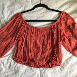 embroidered off the shoulder top not sure of brand